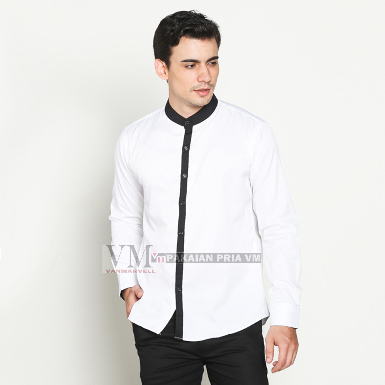 VM Long Shirt Mandarin Collar - kemeja Kerah Shanghai Slimfit Panjang