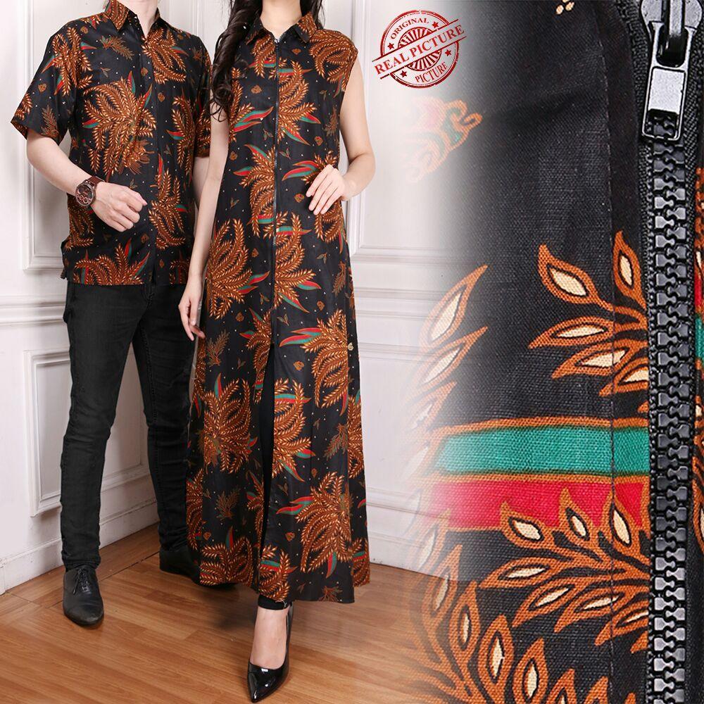 Cj Collection Couple Blazer batik 2in1 dress maxi panjang atasan blouse long tunik kemeja wanita long dress dan atasan kemeja pria shirt Ratu M - XL