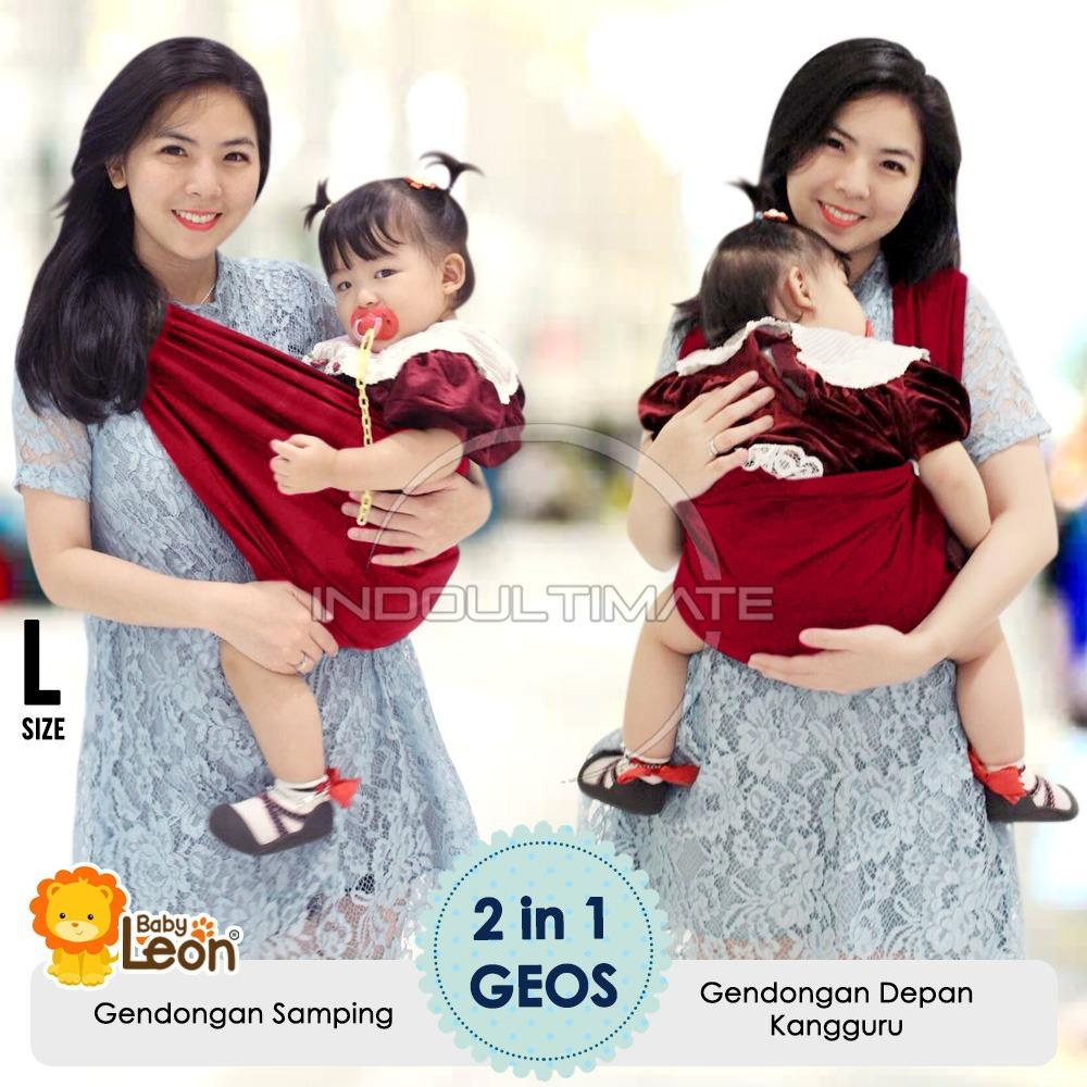 BABY LEON Gendongan Kaos 100% cotton 2 in 1 / Geos Katun 2 in 1 / Practical Baby Carrier BY-56-GB 2 in 1 - Ukuran L