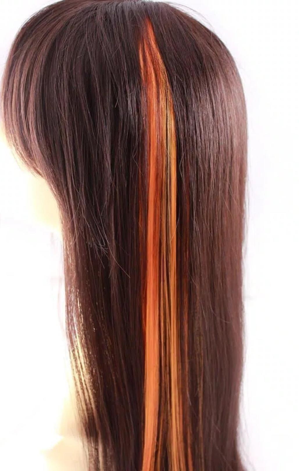Berjaya Store - Hair Clip Extention / Highlight Rambut Palsu - Orange 50 CM - 1