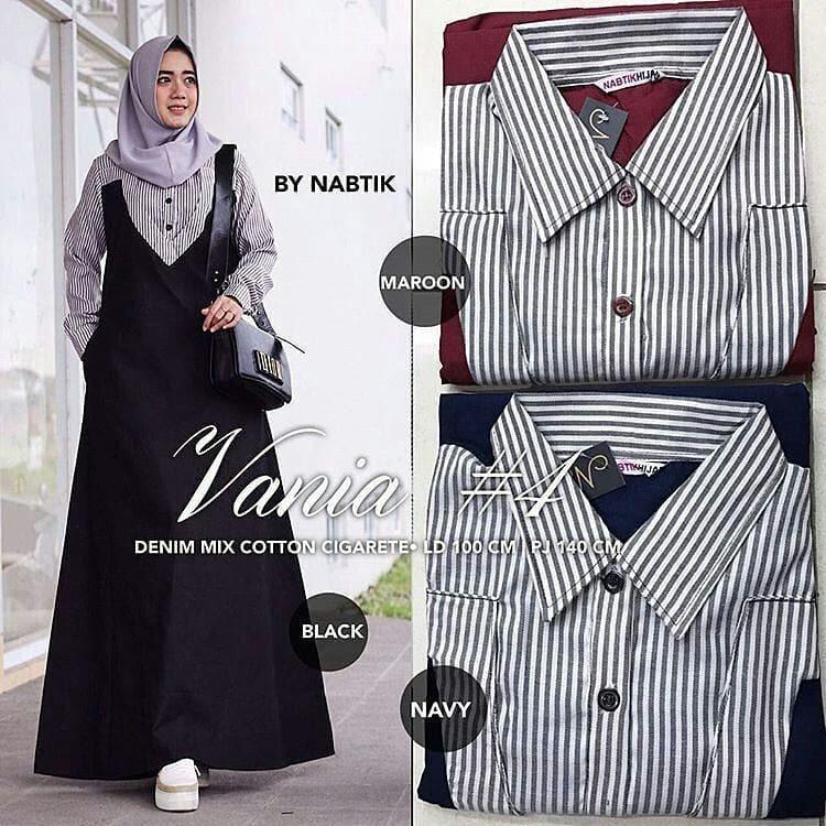 Baju Original Vania Dress #4 Balotelly Mix Katun Salur Gamis Panjang Hijab Casual Pakaian Wanita Terbaru Tahun 2018