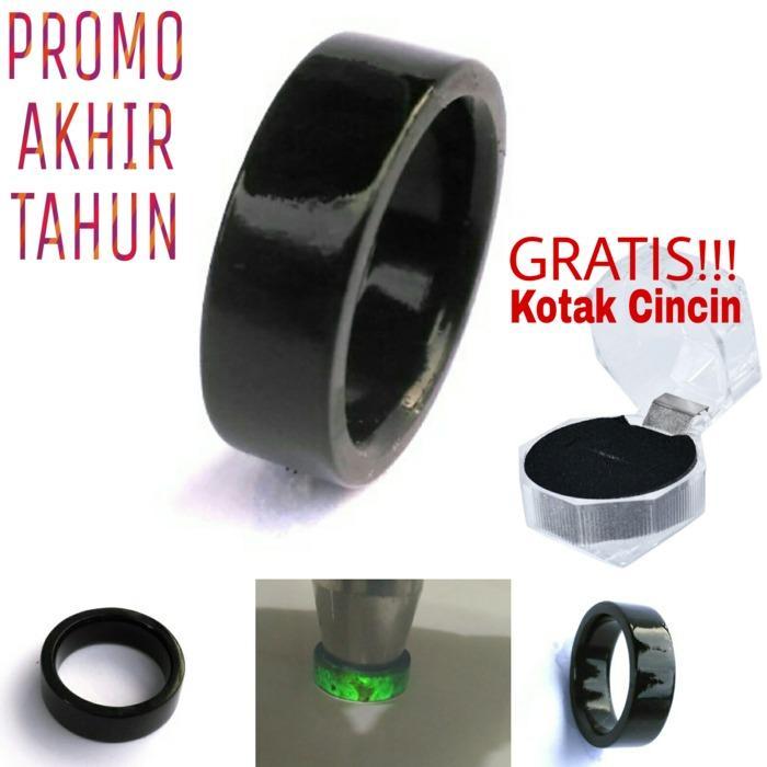 Promo Ring Cincin Natural Giok Black Jade Aceh Flat Aceh