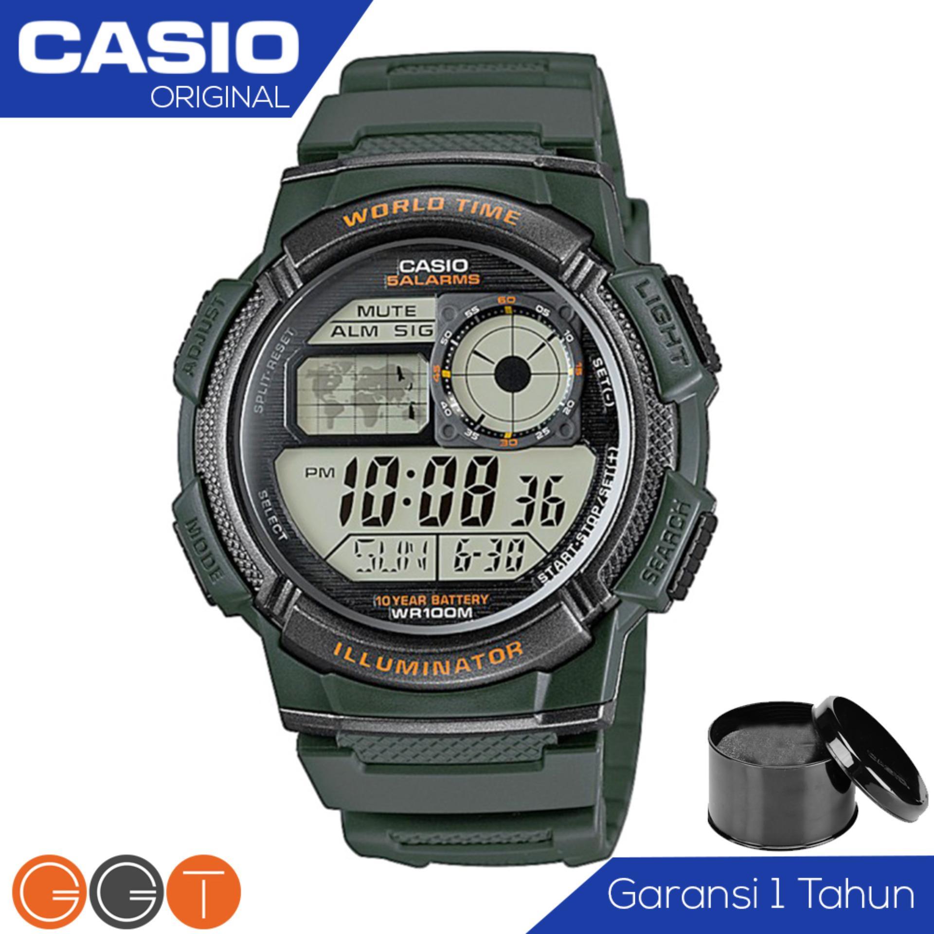 Diskon Casio Army Illuminator Ae 1000W 3Avdf Jam Tangan Pria Tali Karet Digital Movement Hijau Jawa Timur