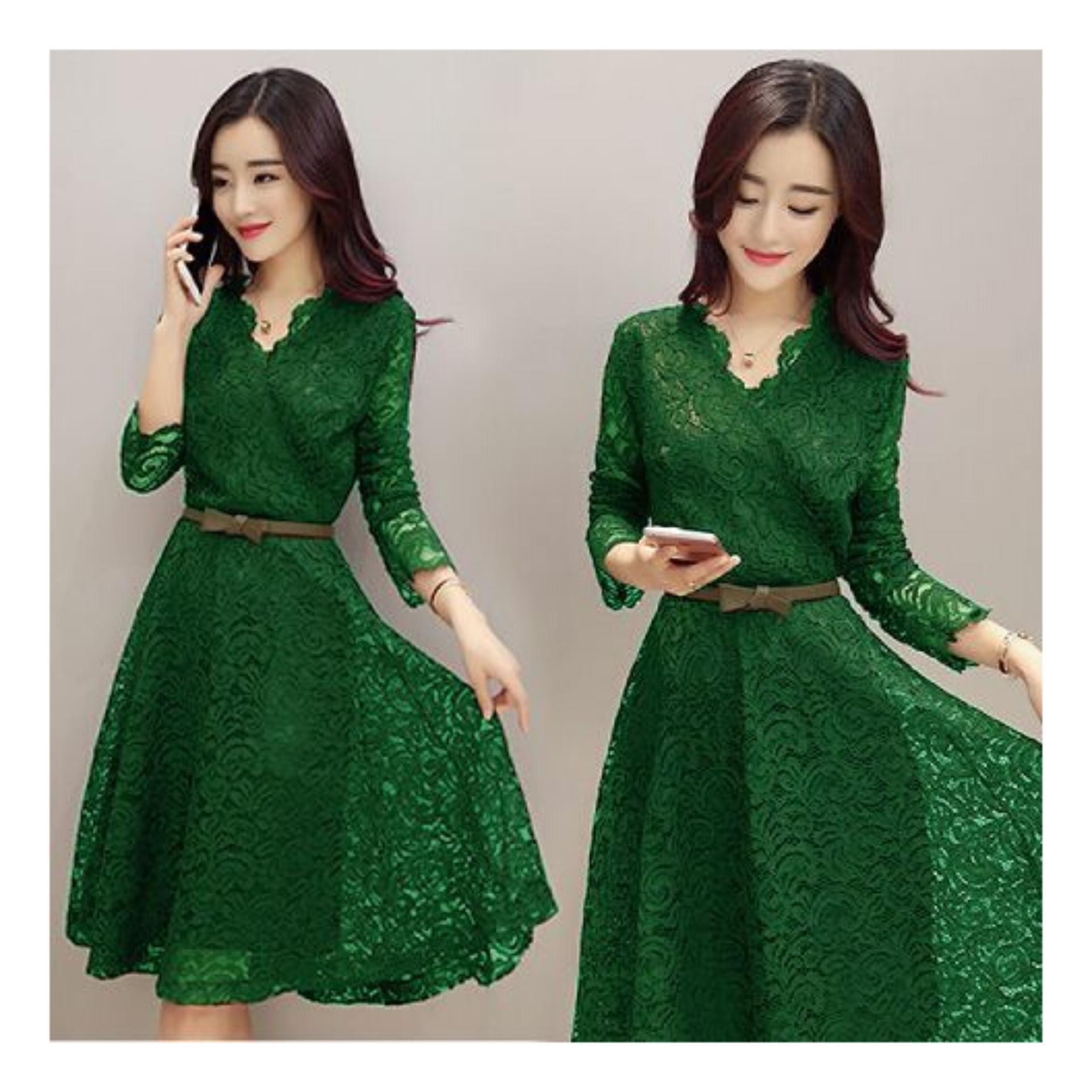 Dress Brukat Wanita SHABYY (Free Belt)   Dess Remaja   Lace Dress   Dress f7f3d38dd3
