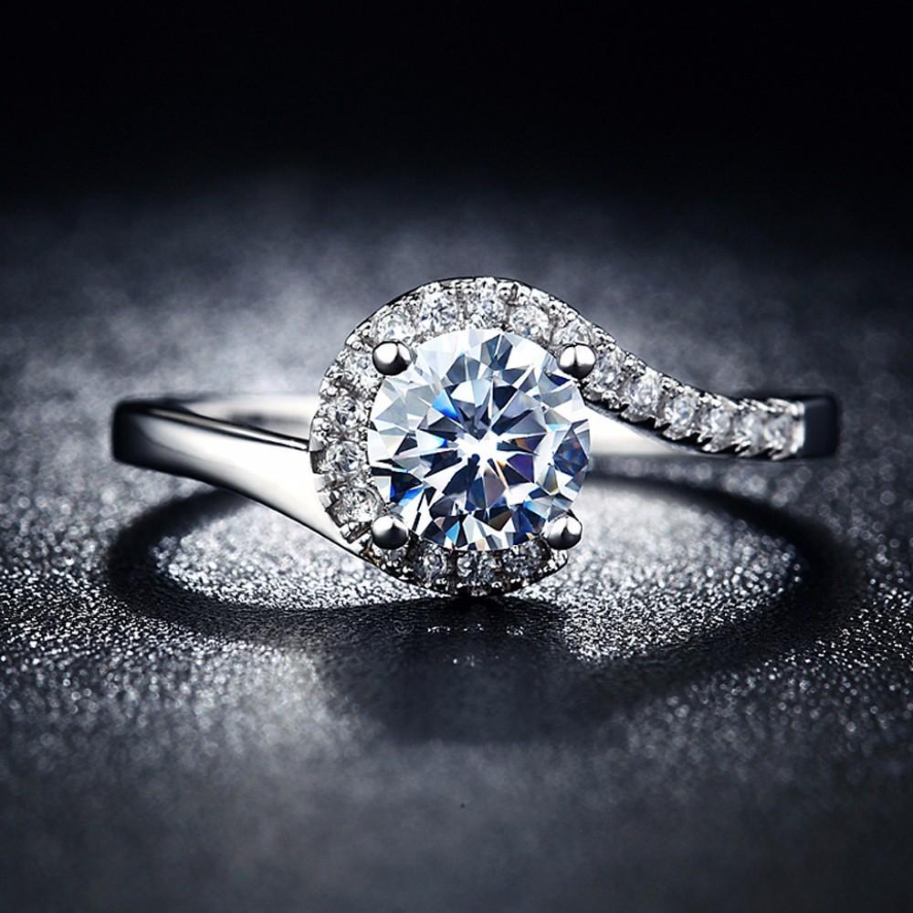 Diskon Promo Perhiasan Aksesoris Cincin Kawin Tunangan Lapis Perak Permata Alam CZ Murah
