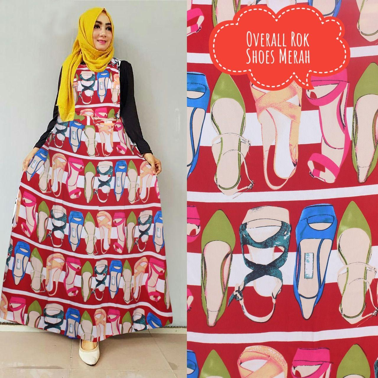 Overall Rok Maxmara Motif Shoes Warna Merah Plus Inner (No Pasmina)