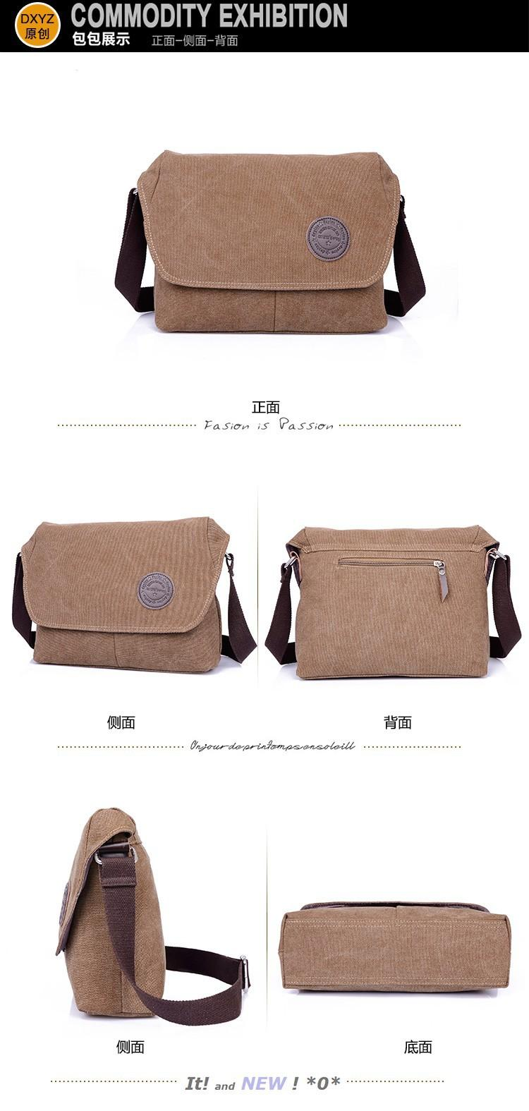 Shimon Men′s Messenger Shoulder Canvas Bag Travel Crossbody Bag - Khaki