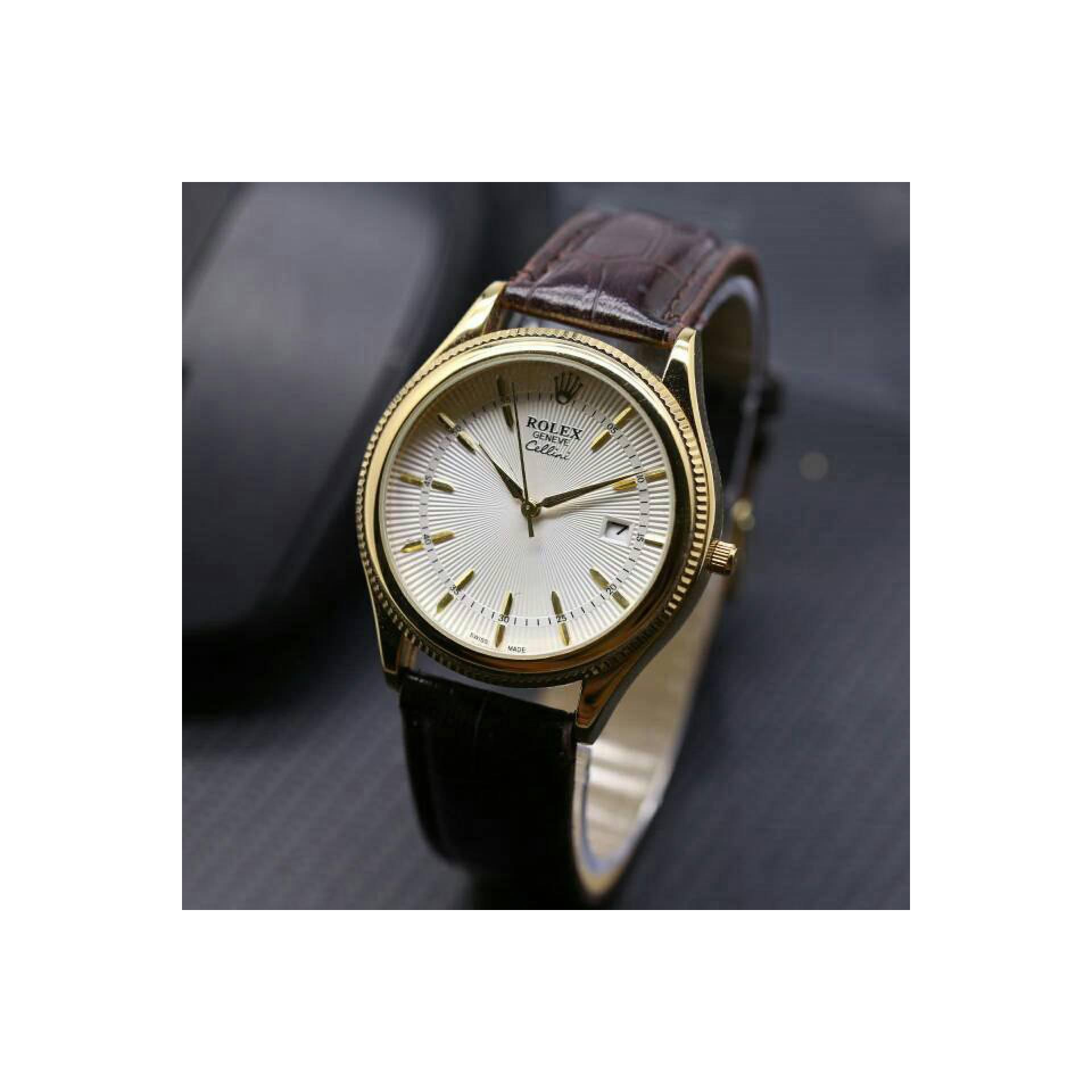 Jam Tangan Unisex Rolex LS1547 - Dark Brown Ring Gold