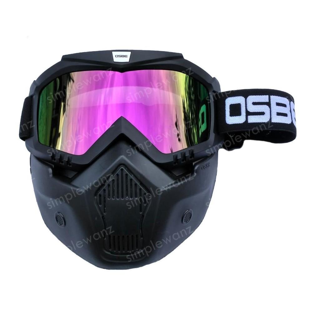 Jual Kacamata Goggle Motocross Trail Shark Osbe Alien Mask Modular Rainbow Google Masker Topeng Pelangi Osbe Murah