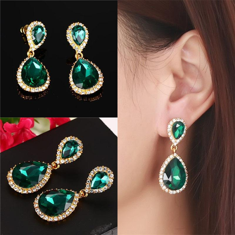 Fashion Gem Bagian Panjang Ceko Diamond Wanita Anting-Anting Emas Anti-alergi Earrings-Intl