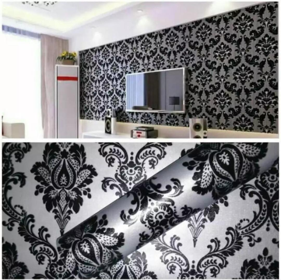 NT - Wallpaper Stiker Dinding Motif Dan Karakter Premium Quality Size 45cm X 10M Batik Hitam