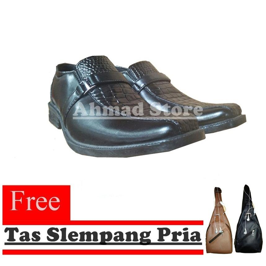 Promo Sepatu Pantofel Pria Kerja Sepatu Formal Model Kombinasi Kulit Buaya Slempang Free Tas Slempang Pria Hitam Di Indonesia