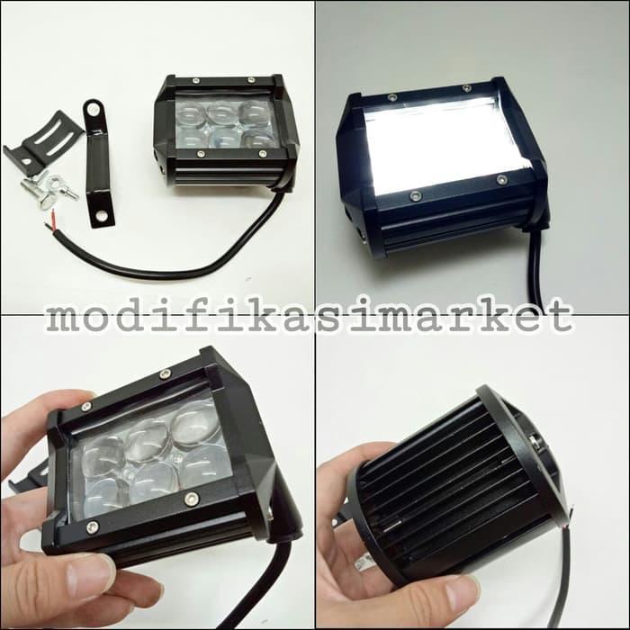LAMPU TEMBAK SOROT LED CREE 18W 6 MATA LED SPOT LIGHT WORK LIGHT PUTIH