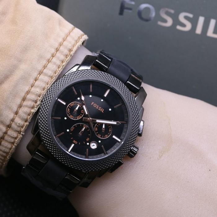 Jam Tangan Pria / Cowok Fossil Chrono Aktif SK80 Rantai Full Black