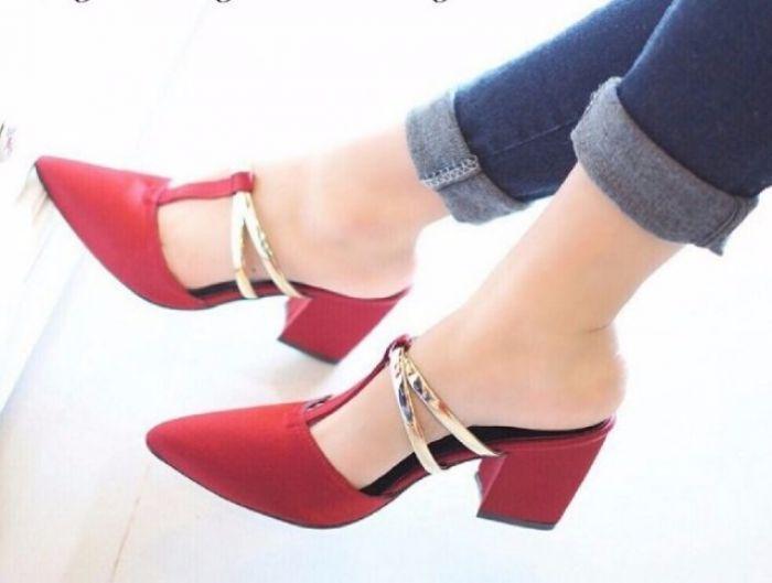 Sepatu Wanita High Heels PANTOPEL HAK TAHU TB37 MERAH Elegant utk Pesta dan Kerja Murah Berkualitas