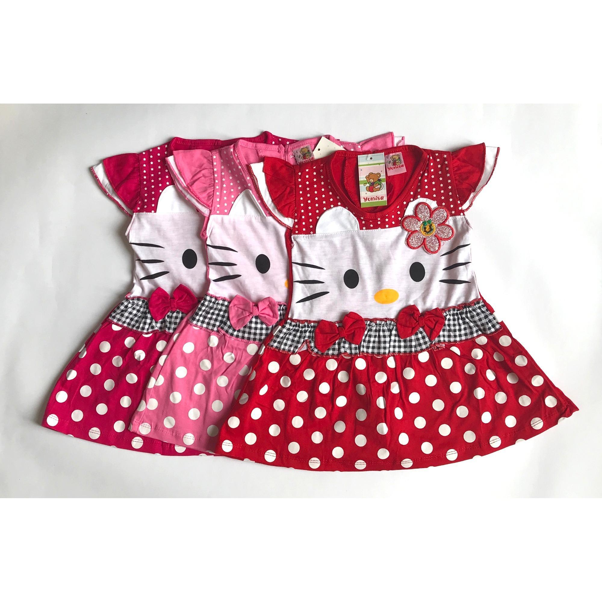 Gambar Produk Rinci BAYIe - Setelan Baju Bayi Dress Perempuan motif HELLO KITTY YUNISA / Pakaian anak cewek umur 1 - 2 tahun Terkini