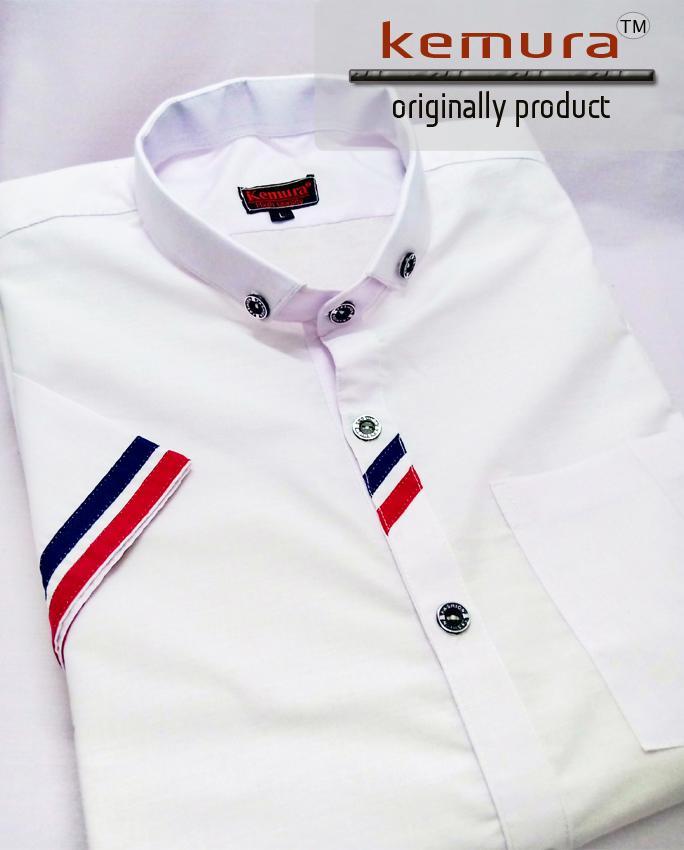 Kemura-Kemeja Pria Model Terbaru Premium Mat White Comby Short Sleeve