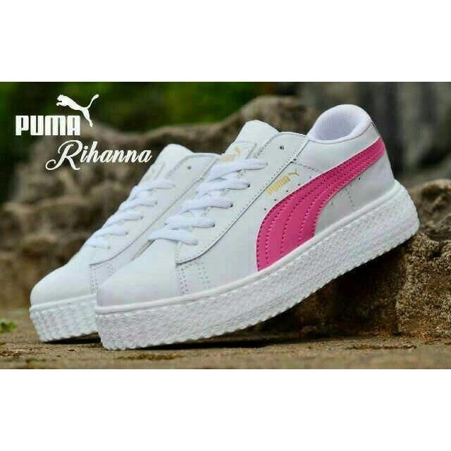 SEPATU PUMA RIHANNA PUTIH LIST PINK / sepatu wanita model terbaru / sepatu olahraga murah / sepatu joging wanita / sepatu fashion wanita
