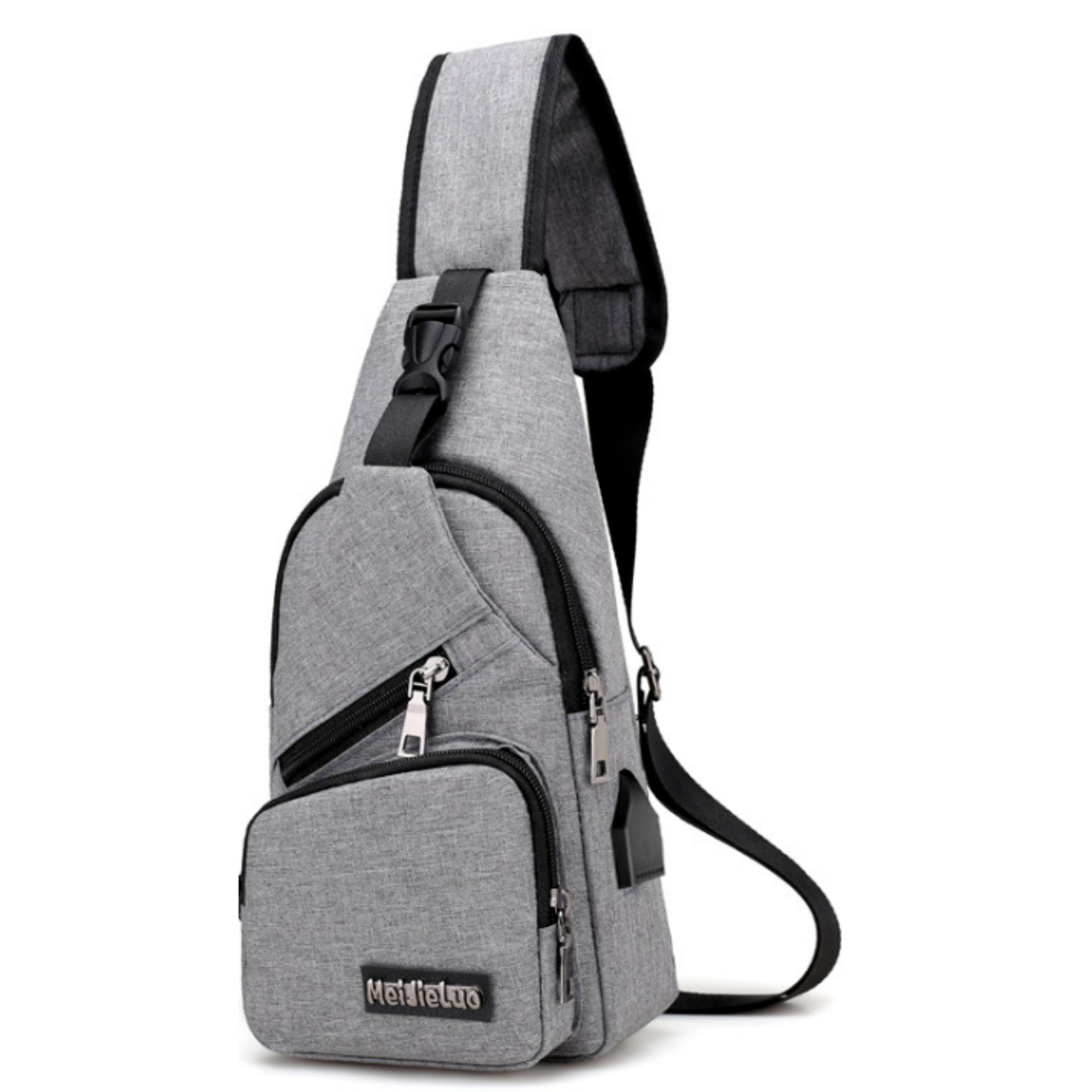 Fitur Tas Selempang Sling Bag Anti Maling Cross Body Non Usb Charger Thief Water Proof Smart Crossbody With Support