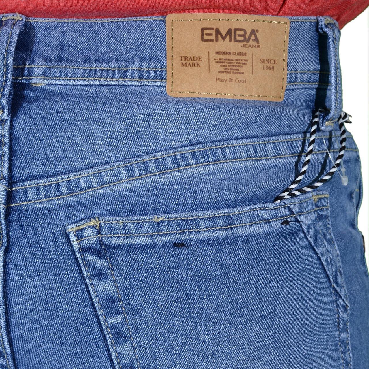 Emba Jeans Celana Panjang Pria Bs 071 Morgan Slim Regular Fit Bs08b1 Denim Warna Jet Black Hitam 38 617 11205