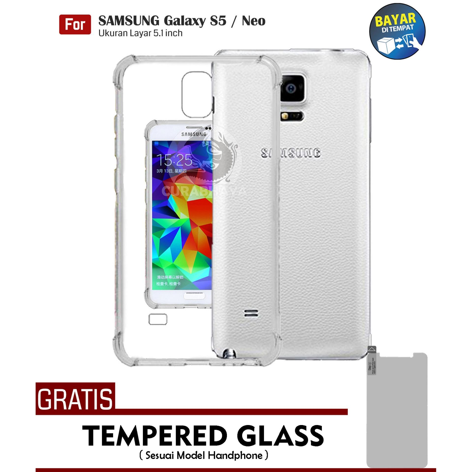 AirShock Samsung Galaxy S5 / Neo / G900 / Duos | Anti Crack Premium Softcase Cushion ShockProof + Gratis Free Tempered Glass Screen Protector