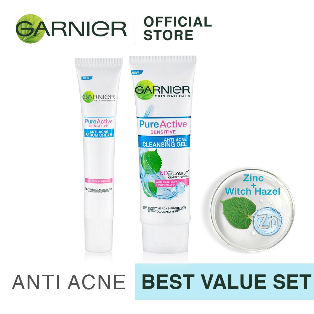 Beli Garnier Pure Active Sensitive Anti Acne Cleansing Serum Gel Value Pack Baru
