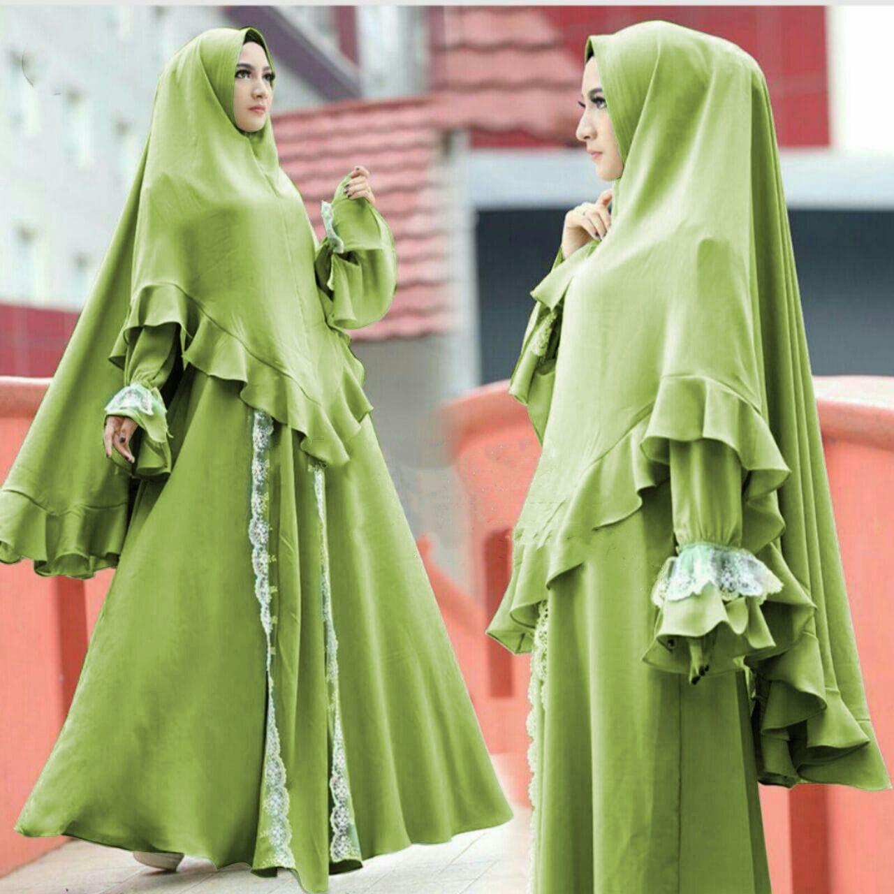 TERLARIS!!! [Syari Slavina Alpukat SW] gamis wanita jersey wanita hijau / baju muslim wanita / baju muslimah / baju muslim wamita terbaru / baju muslim murah