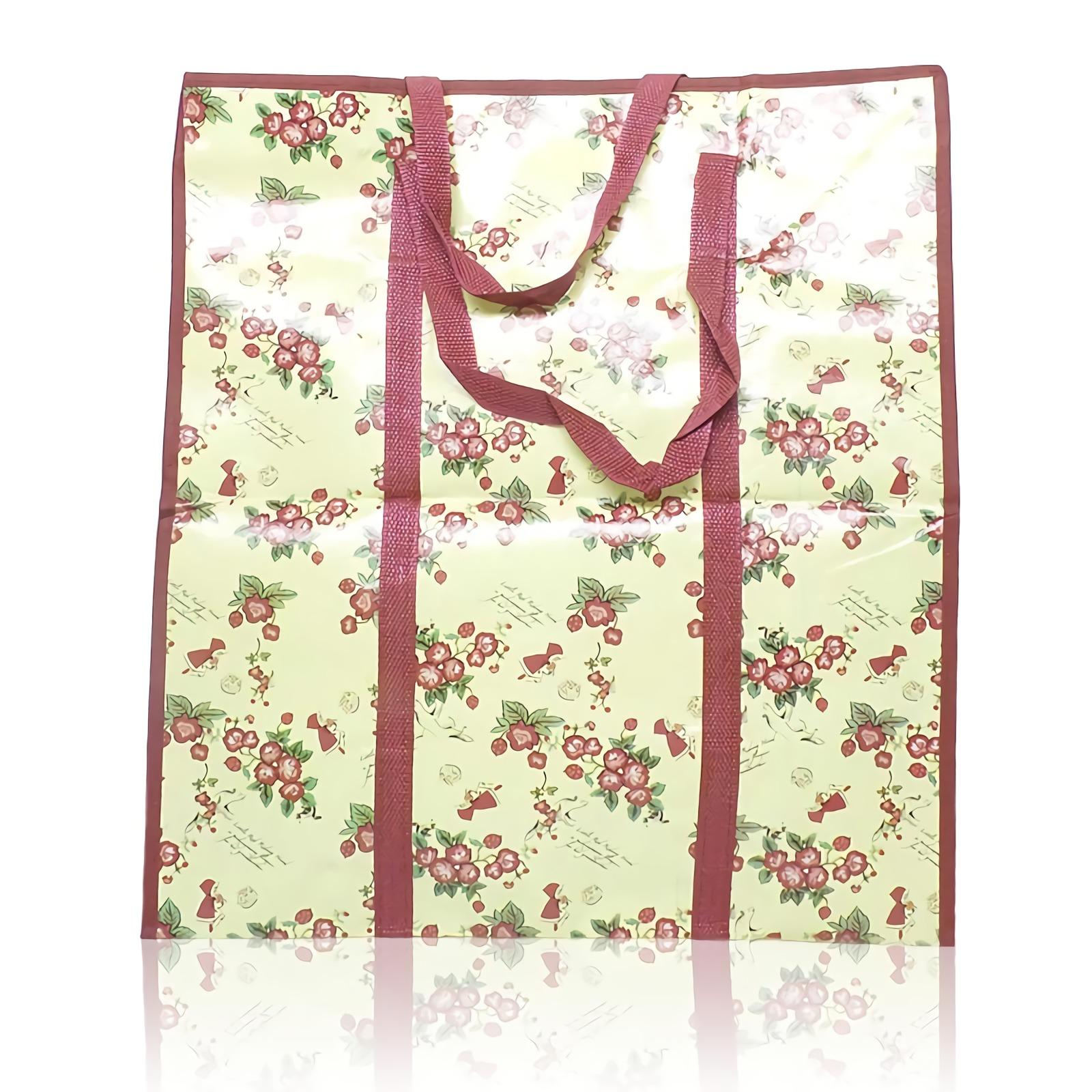 OHOME Tas Karung [50x25x55CM] Kantong Terpal Bunga Serbaguna Shopping Bag Merah