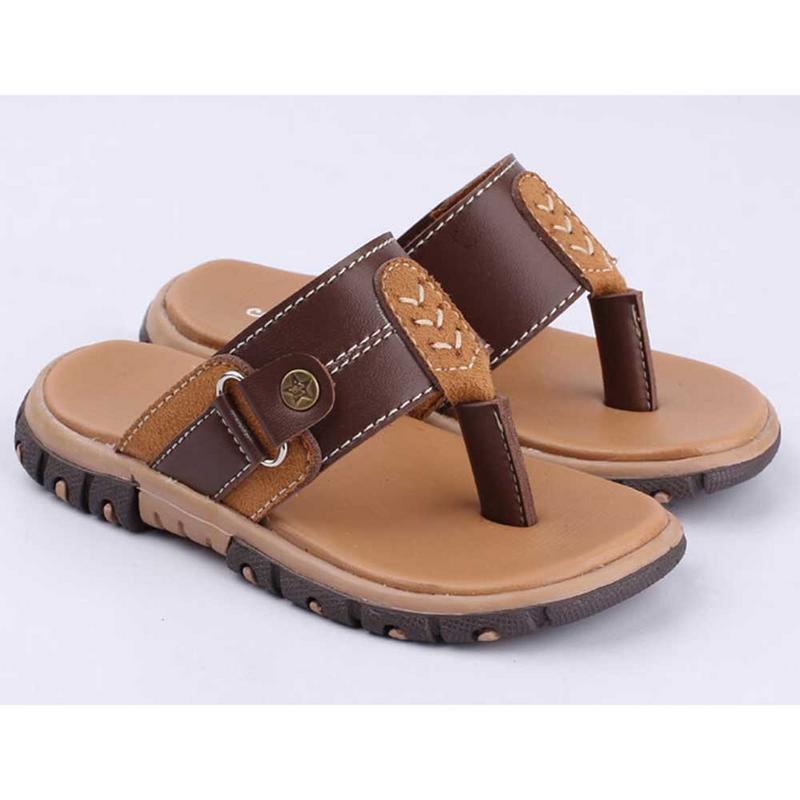 Beli Ukuran 22 26 Sandal Sendal Jepit Kulit Anak Laki Laki Cowok Warna Coklat Chm 002 Cr Murah Jawa Barat