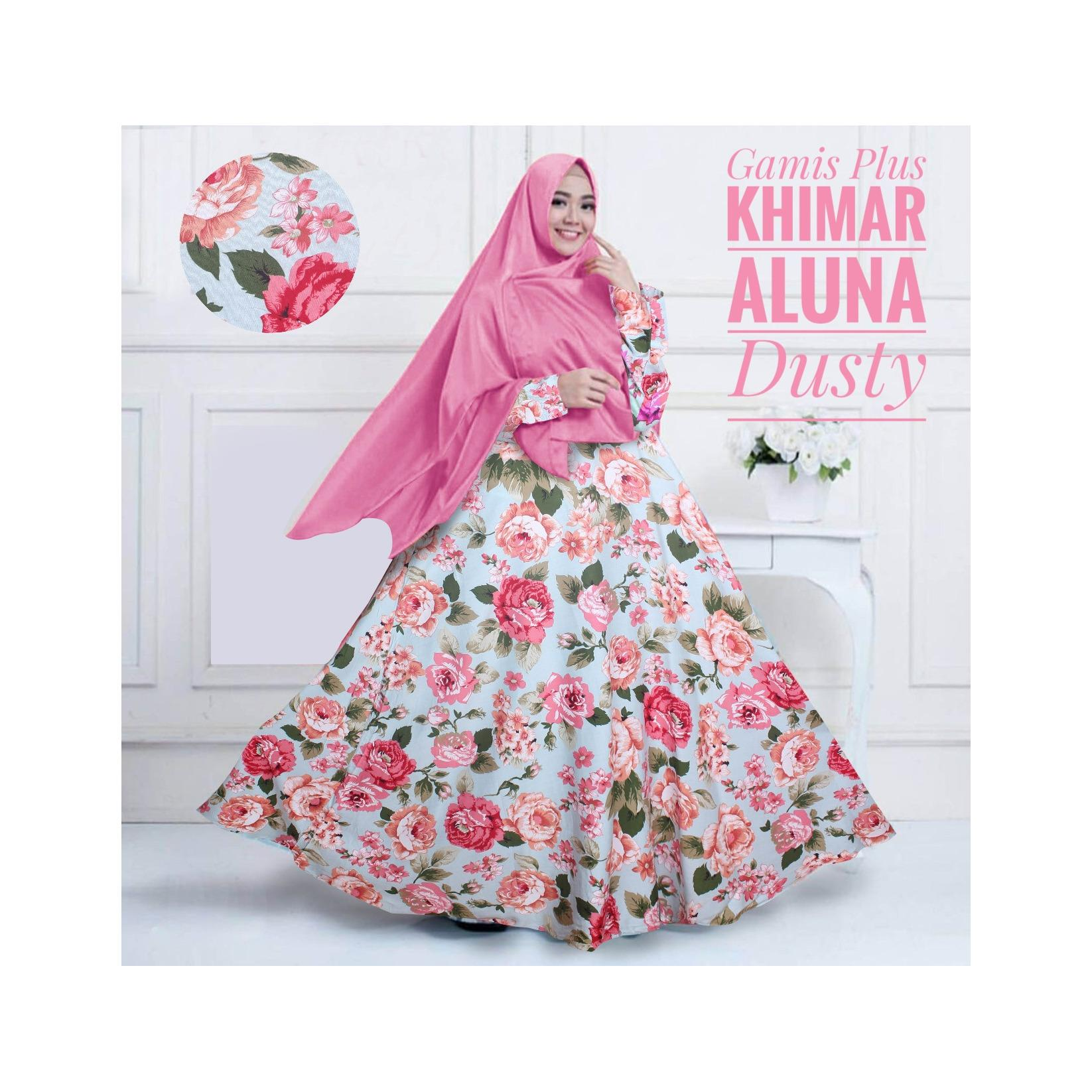 Gamis Katun Syari Murah / Gamis Maxi Dress Katun Aluna Plus Khimar Dusty Pink / Gamis Katun Busui
