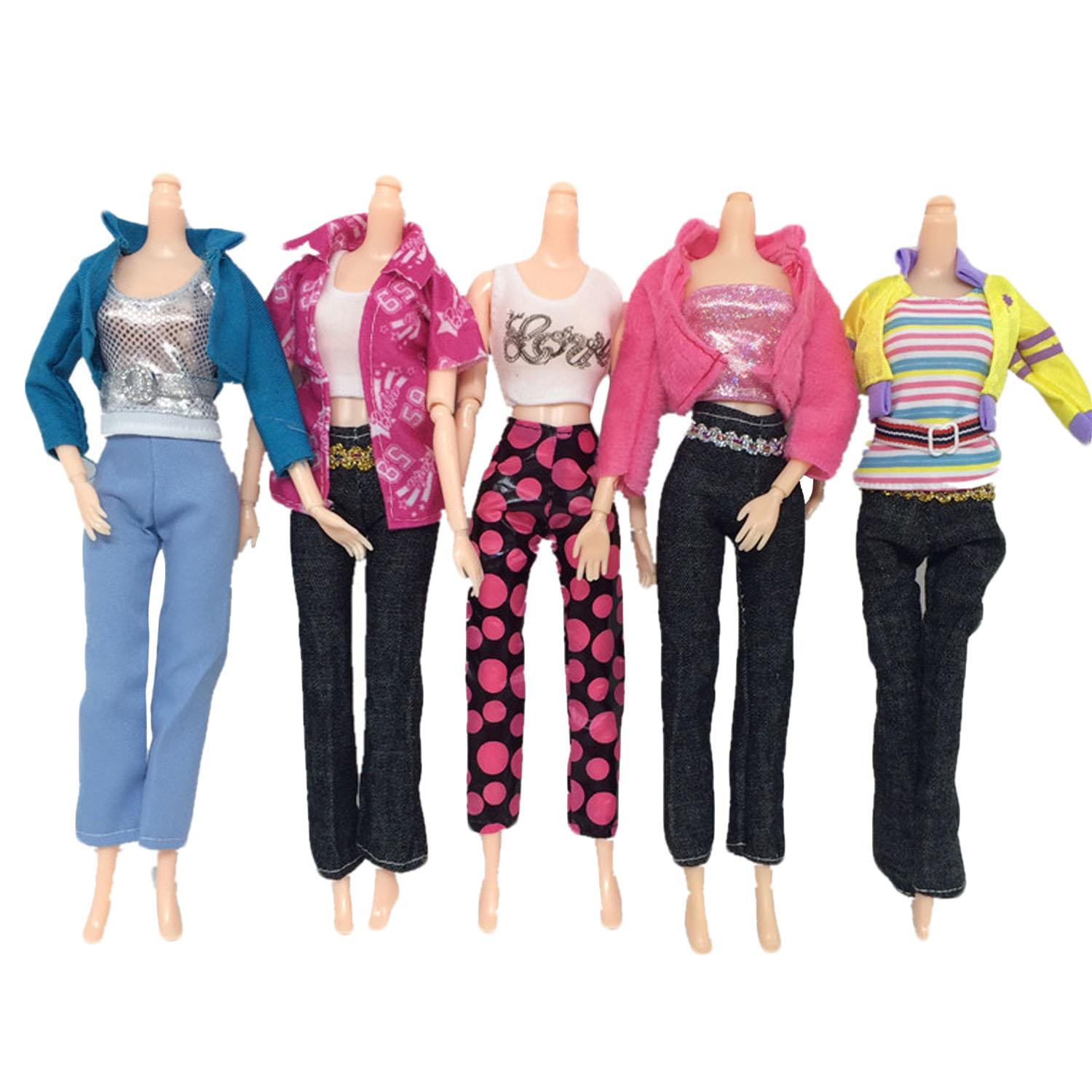 1c326086d 5 Set Fashion Girl Doll Toys Casual Wear Clothes Outfits Tops And Pants  Accessories for Barbie