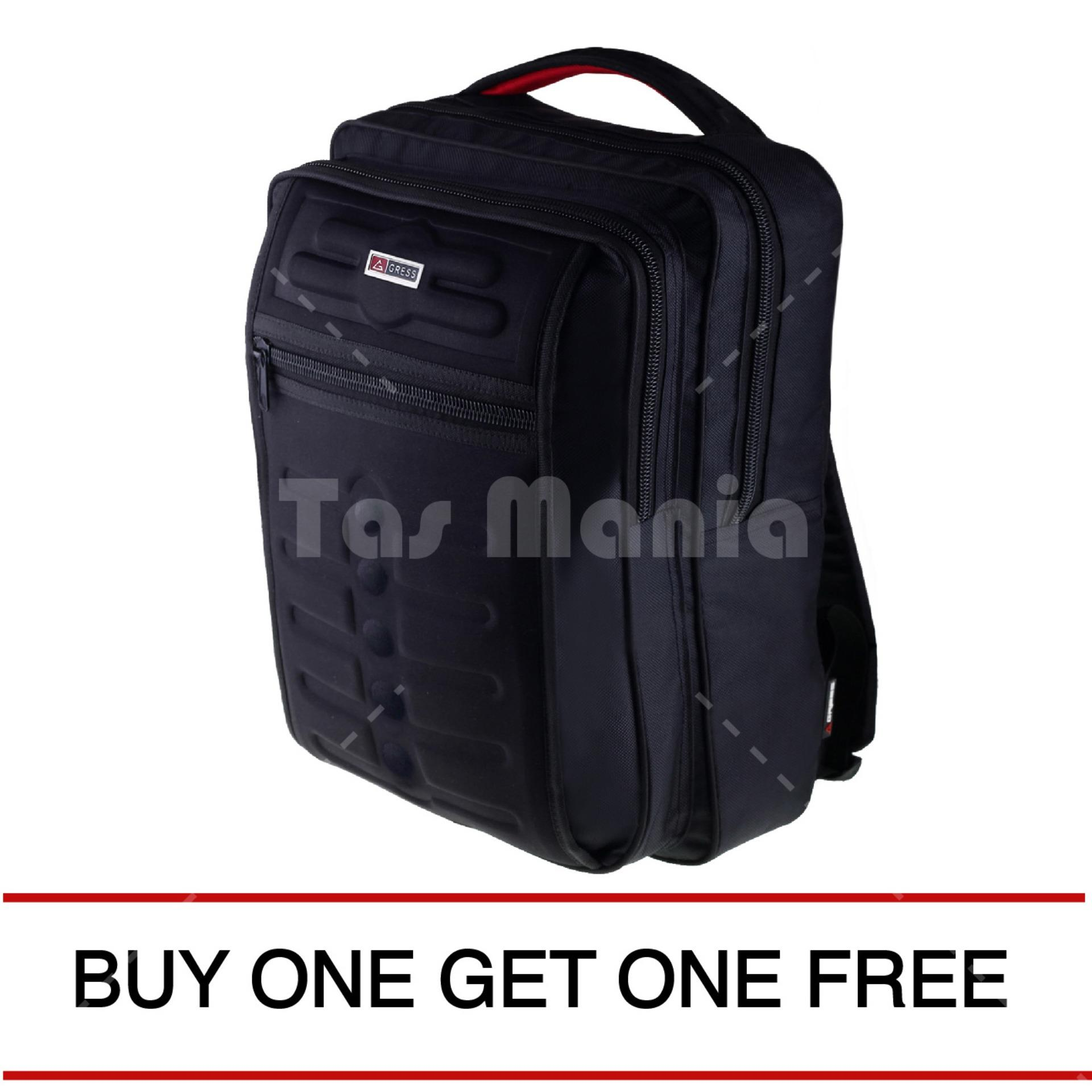 Gress Emboss Backpack - Hitam ( BUY ONE GET ONE ) 054