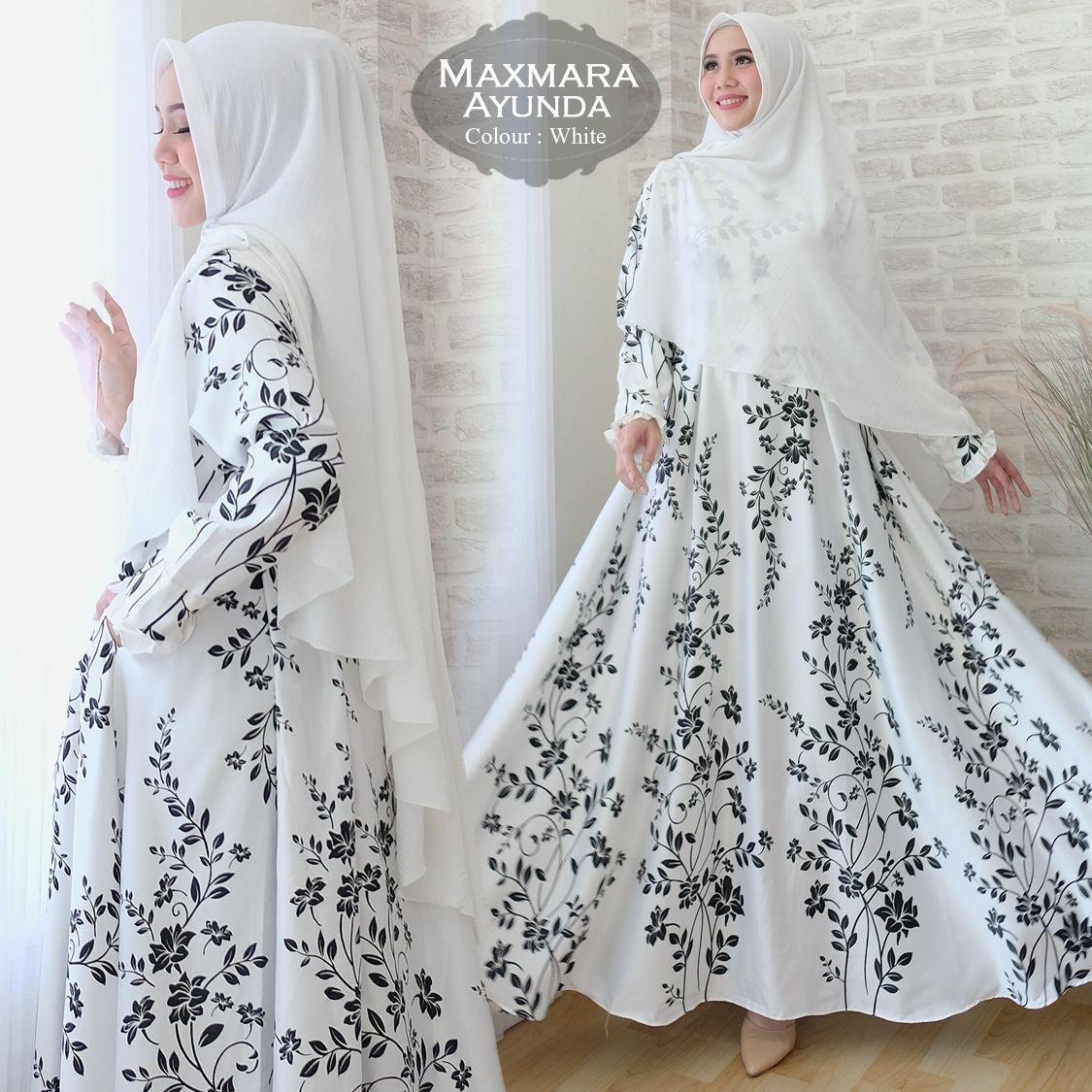 Baju Muslimah / Gamis Maxmara Plus Khimar Ayunda Warna Putih
