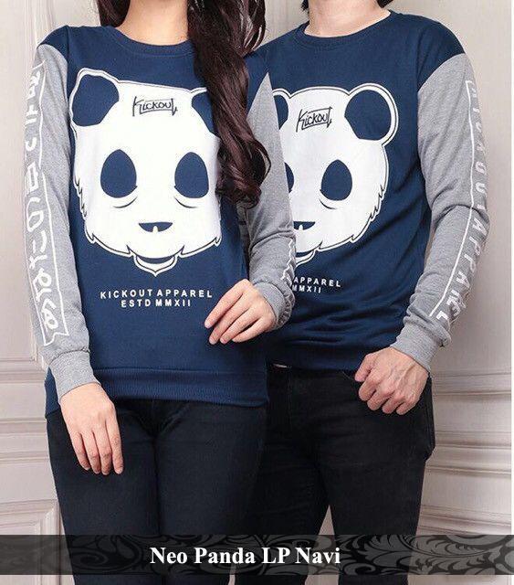 LenganPanjang Kaos Couple Lengan Panjang Murah Baju Pasangan Motif Animal Simple Neo Panda Navy