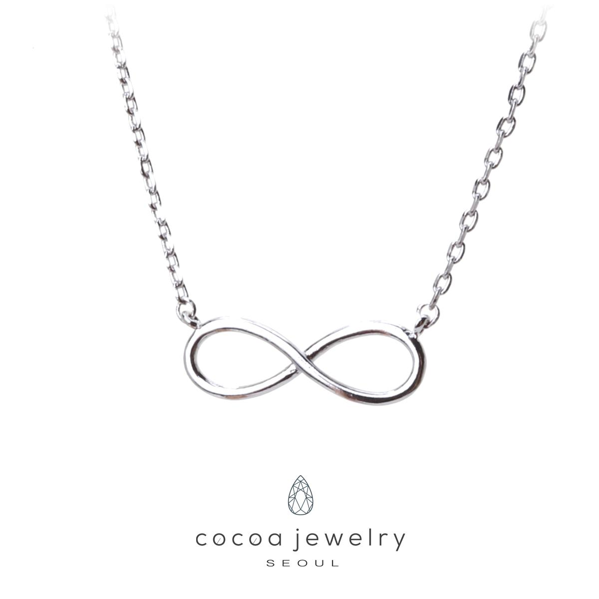 Korea Cocoa Jewelry Necklace Infinity - Kalung Silver Color