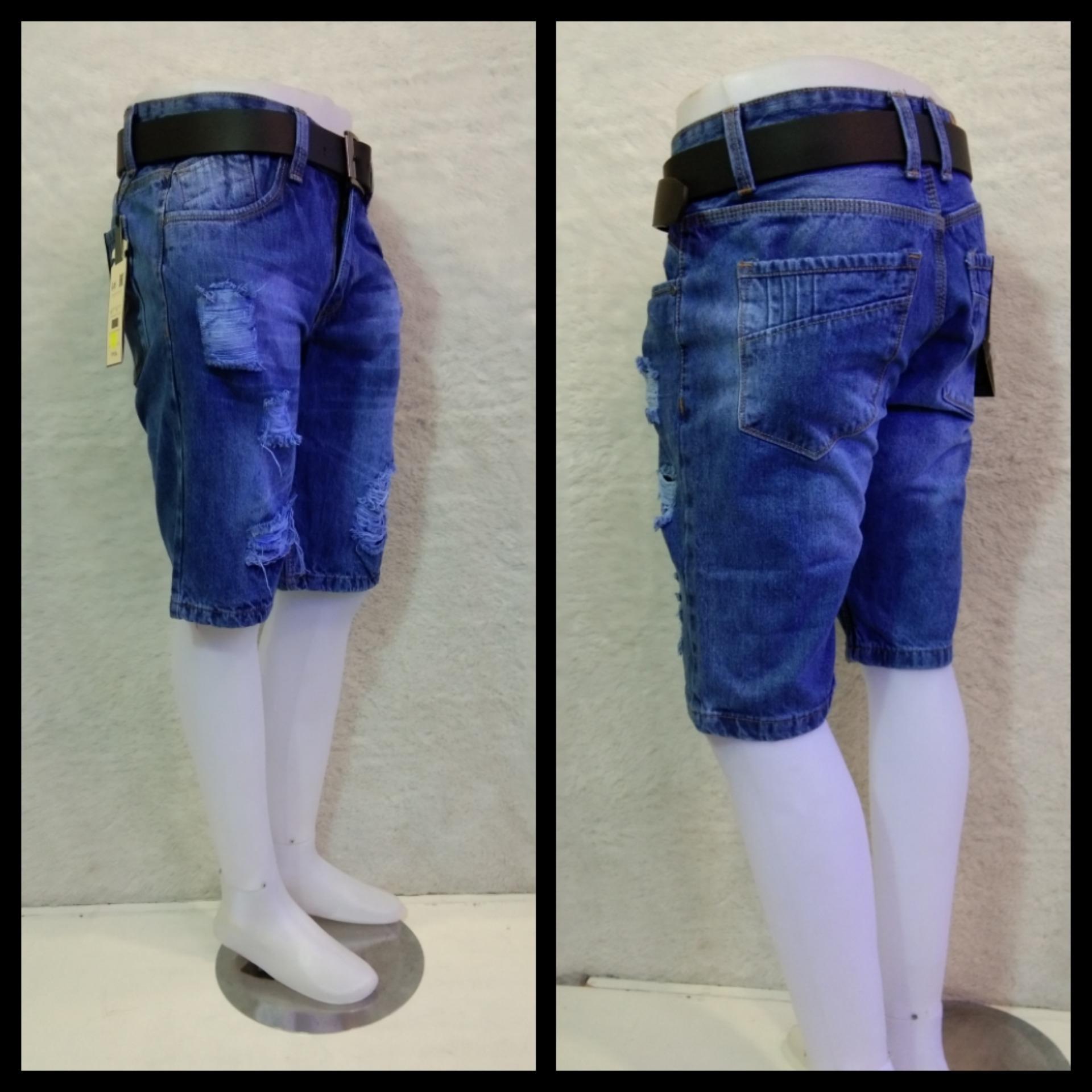 celana jeans pendek pria sobek fashion