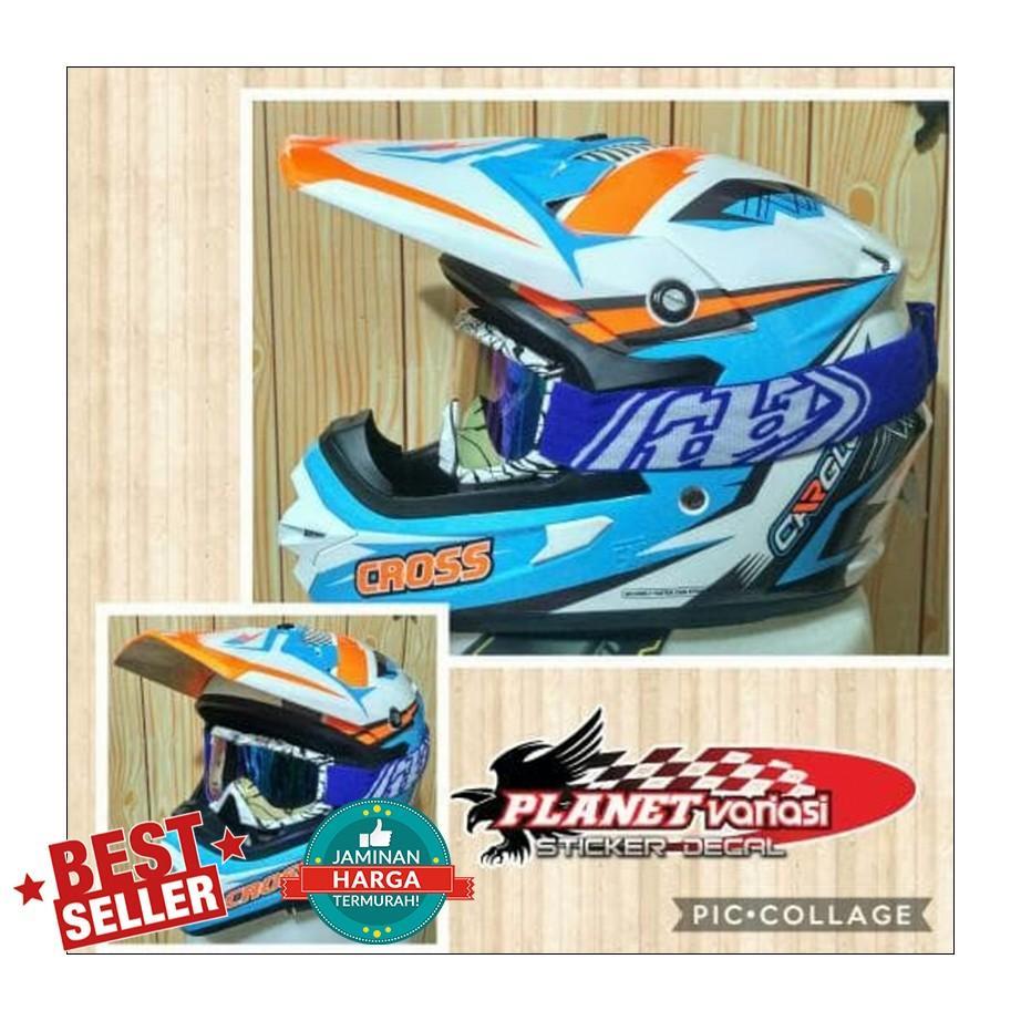 Helm Cross Cargloss fullface stabilo Blue ice bukan Gm Jpx Nhk