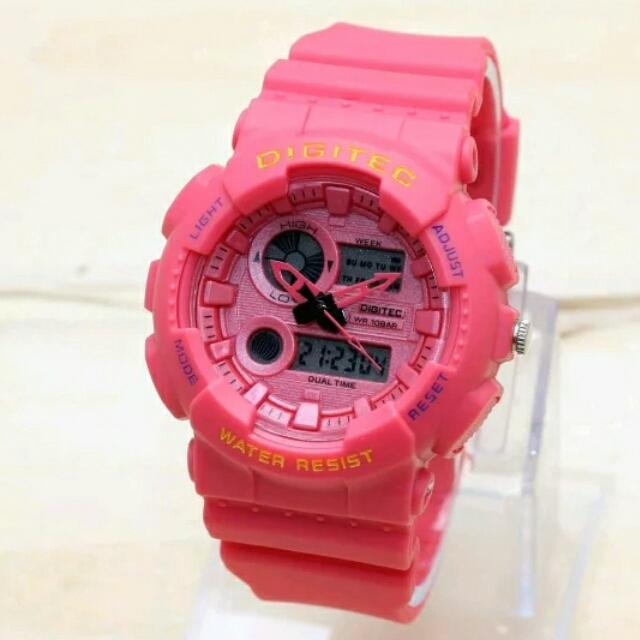 Digitec Original - Dual Time - Jam Tangan Wanita - Strap Karet Pink Model Terbaru