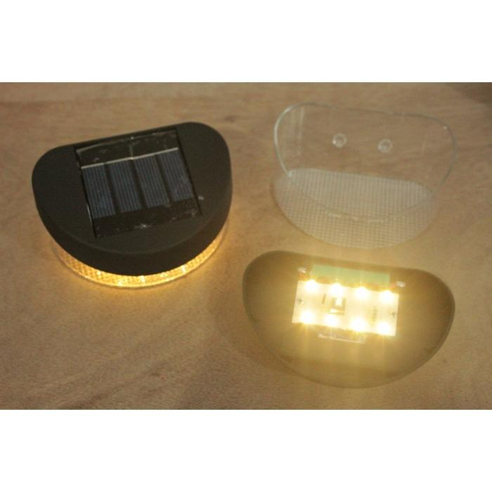 lampu dinding / jual Lampu Dinding/tangga solar power tenaga surya 8 Led KUNING WARM WHITE