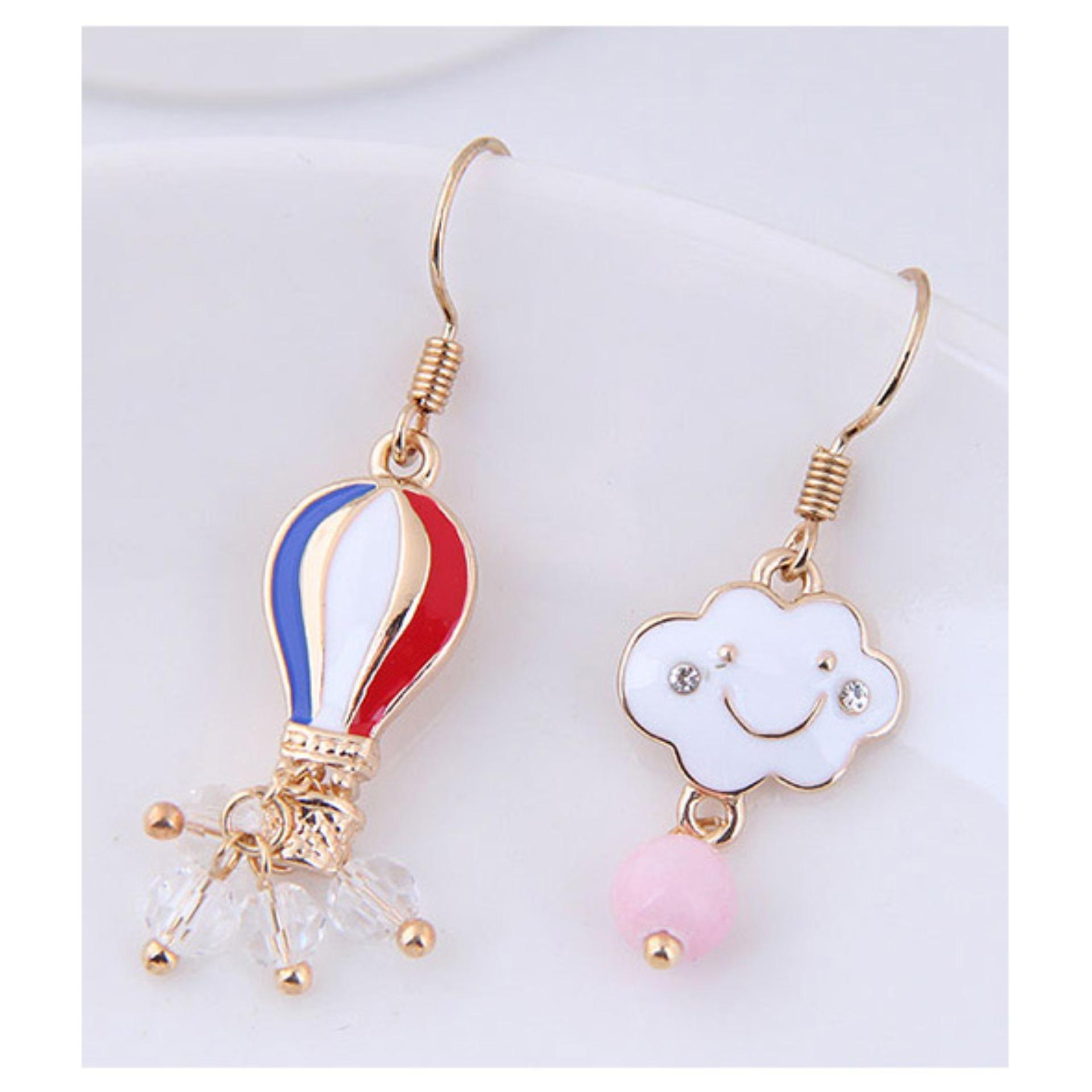 LRC Anting Gantung Fashion Red+blue+gold Color Cloud Shape Decorated Earrings