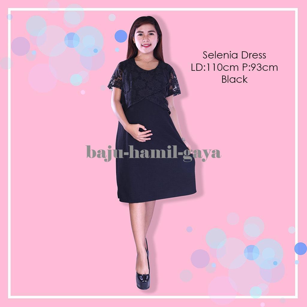 Baju Hamil Gaya - Dress Hamil - SELENIA DRESS BLACK - Terusan Hamil - Dress Menyusui