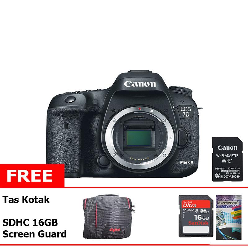 Sumber Bahagia - Canon Kamera DSLR EOS 7D Mark II Body Only + Free Tas Kotak + Sandisk SD 16GB + LCD Screen Guard + WiFi Adapter W-E1