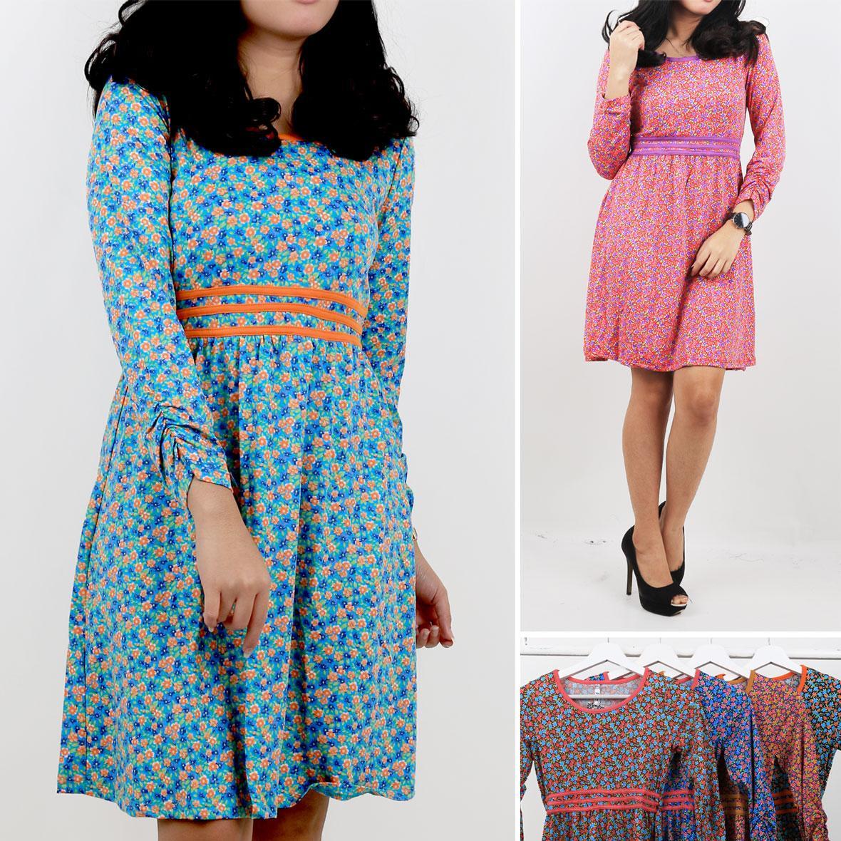 Oma Holley Fashion Nuria Mini Dress Flower Fullprint 4 Warna-Size M