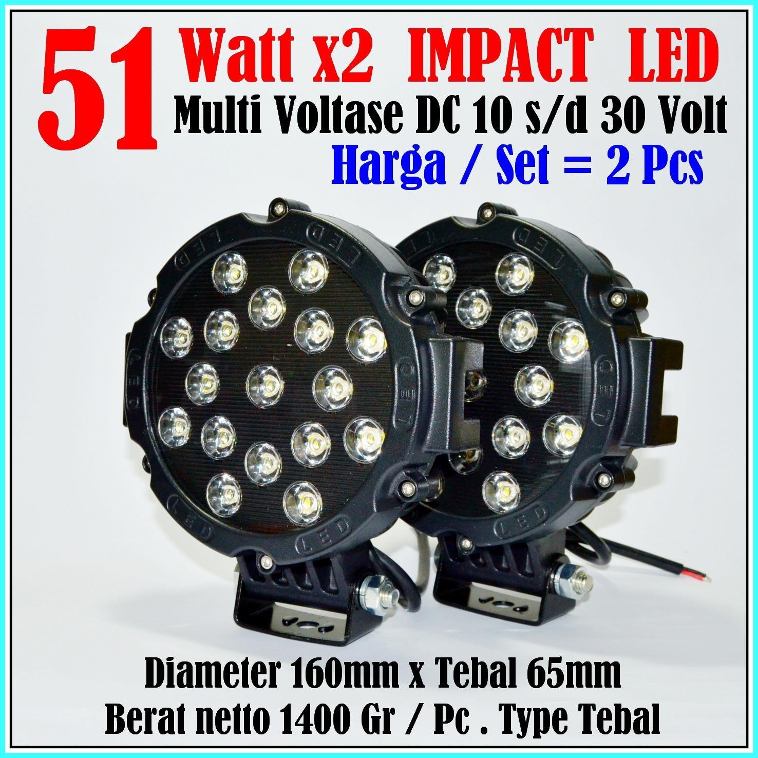 Lampu sorot LED 2 pcs 51 watt Red - spot light - work light- offroad