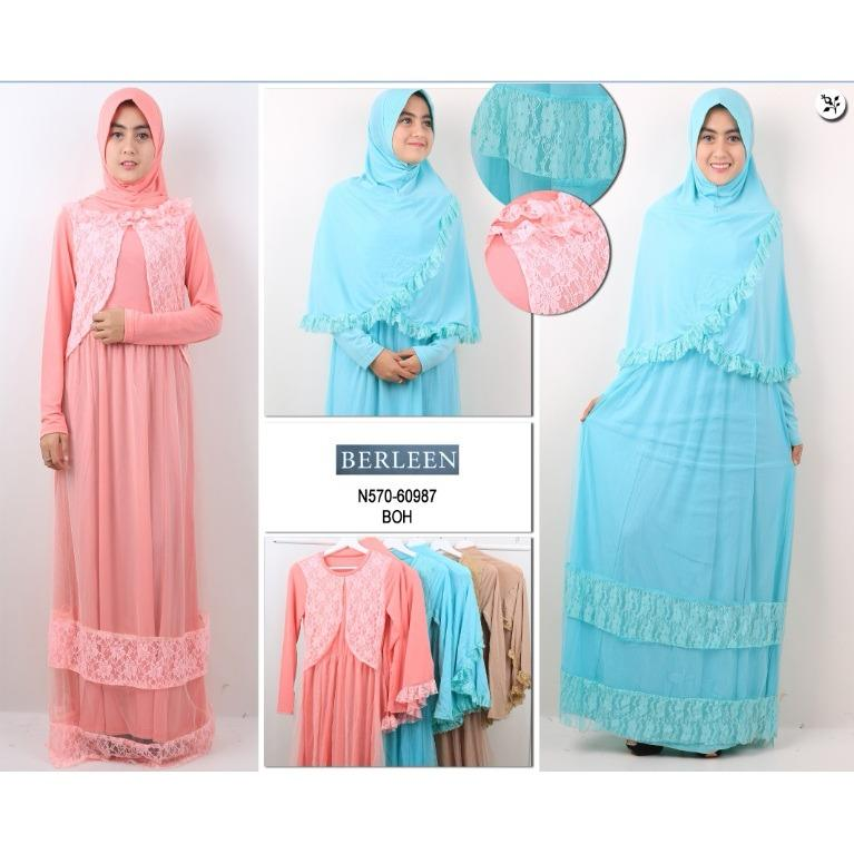 Oma Holley Fashion Lucretia Baju Muslim Dress Kombinasi Renda Termasuk Hijab - Size M