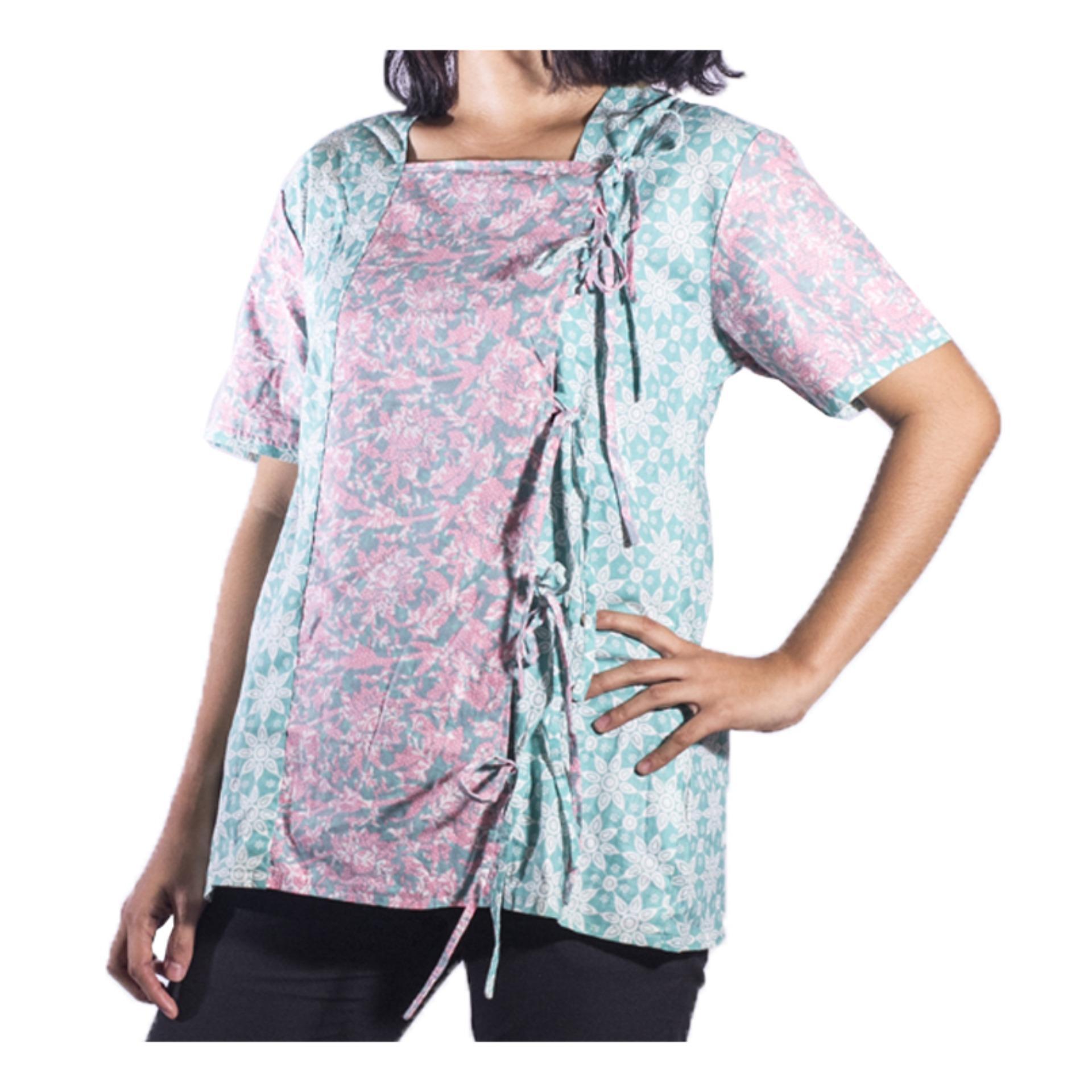 Mall BTM Fashion - Dina Collection Atasan Batik Jogja Murah Model Tali Ikat - Turquoise