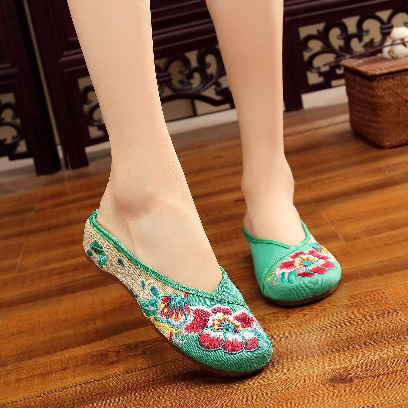 Harga Veowalk Sepatu Kasual Wanita Linen Kain Slide Sandal Floral Bordir Flat Memakai Sandal Sepatu Untuk Wanita Asia Hitam Intl Online Tiongkok