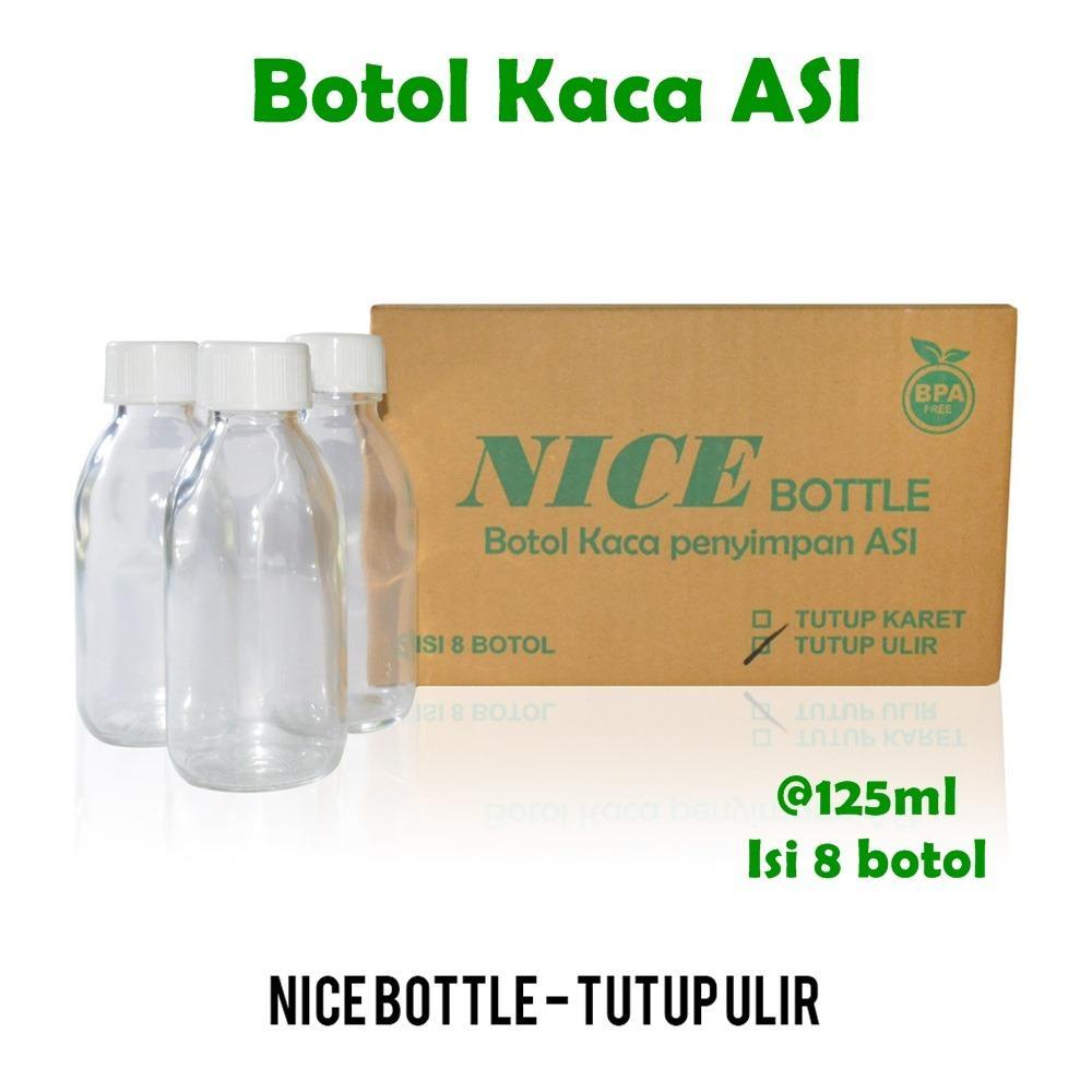 Nice Baby Botol Kaca ASI 125 ml isi 8 pcs Tutup Ulir / Penyimpanan Asi Perah / Botol Susu / Botol ASI