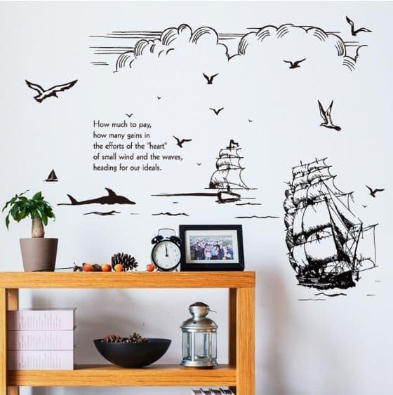 Detail Gambar Wall sticker Sailing SK9234 (90x60) Stiker Dinding Terkini