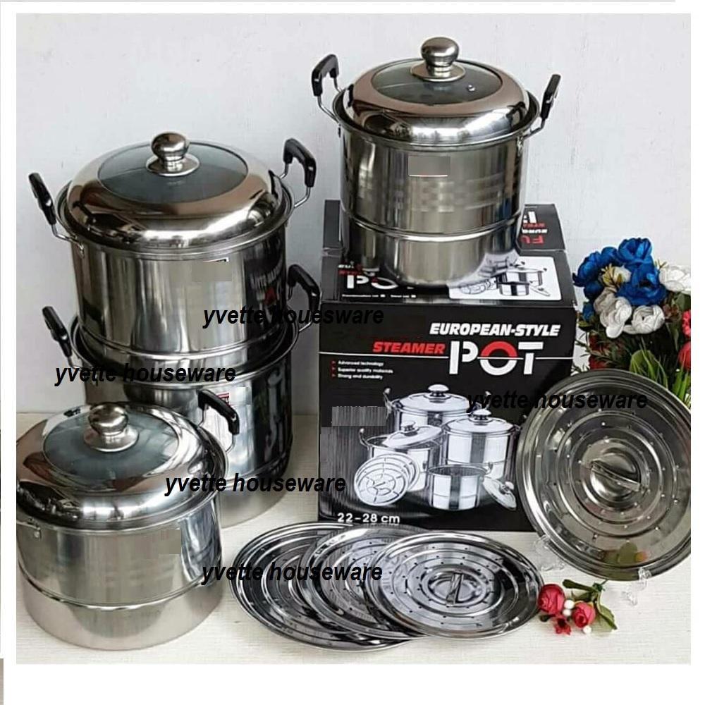 Cek Harga Baru Vicenza Cookware V565 Panci Dengan Steamer Stock Pot Set 12pcs V812 Eropa Tutup Kombinas 1 4